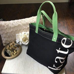 Kate Spade Canvas Black Green Tote Bag